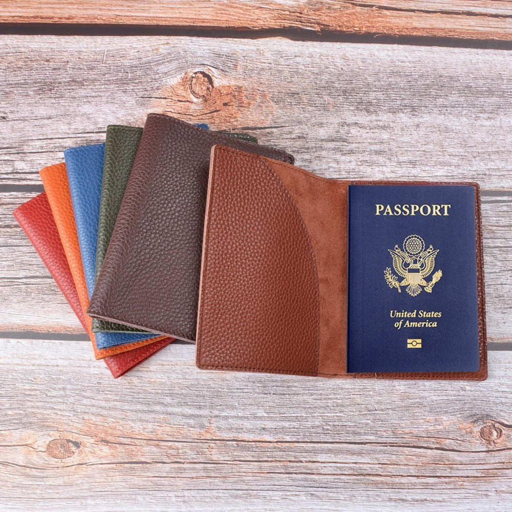 New Arrivals Passport Cover Solid Credit ID Card Case Holder Genuine Litchi Grain Leather Business Travel Leather Passport Cover