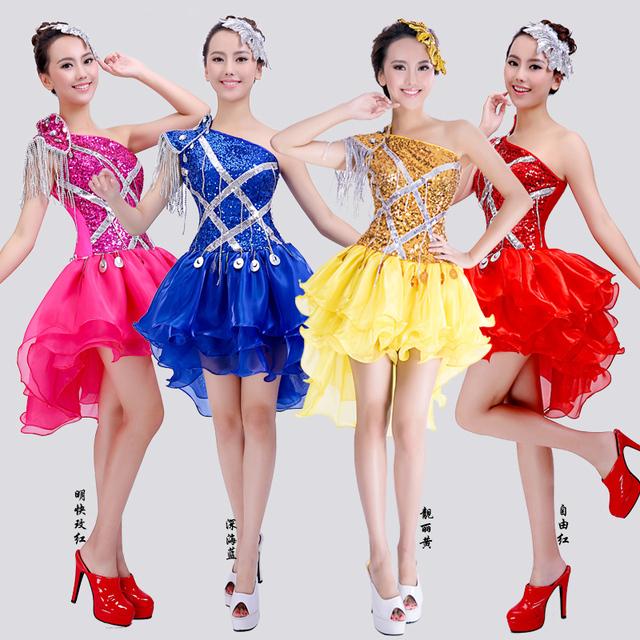 Falda de una pieza trajes de moda DS DJ ropa de Navidad sexy ropa bailarín cantante star bar show prom dress rojo azul