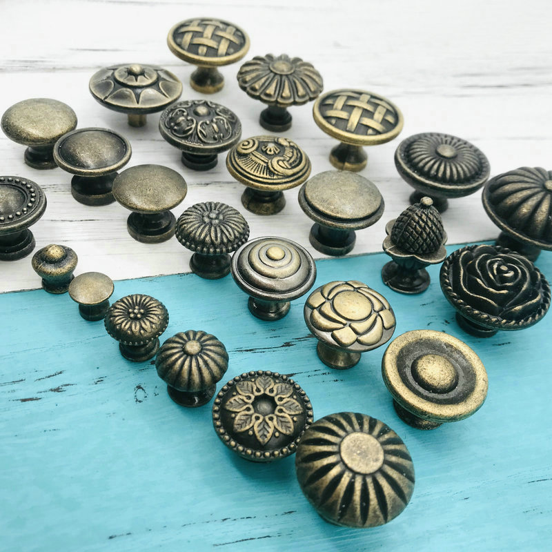 Antique Bronze Furniture Handle Zinc Alloy Drawer Door Knobs For Dresser Shoebox Drawer Cabinet Cupboard Handle DIY Home Decor