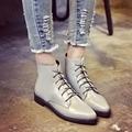Chelsea Botas Mulheres Ankle Boots Plana do vintage 2016 Outono Nova sapatos Botas de Inverno Senhoras Botas de Couro Pu Rendas Até Botas Mujer