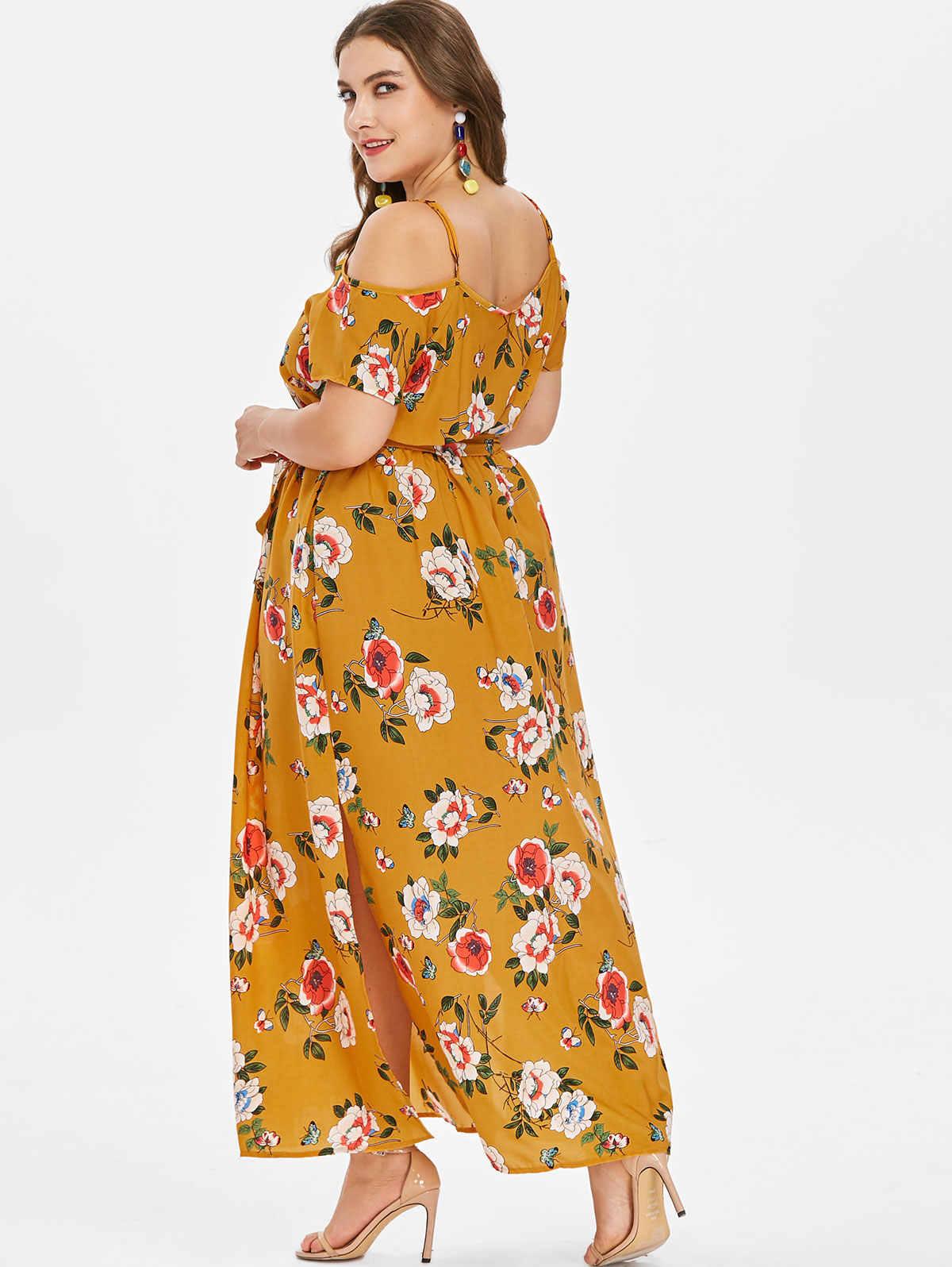 ... Wipalo Plus Size Boho Cami Empire Waist Dress Floral Print Slit Belt Cold  Shoulder Spaghetti Strap ... 3cbdfa156050