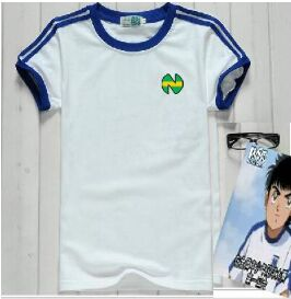 Kids Chidlren Soccer Cotton Casual Shirts Oliver Atom, Captain Tsubasa Equipe de France,ATON blue football Japanese shirts 1