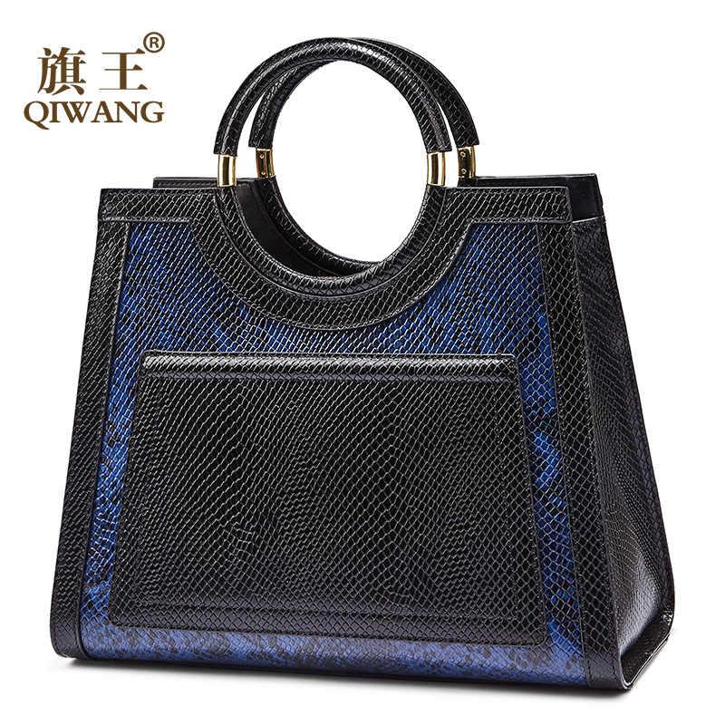 Qiwang Biru Tote Tas Tas Wanita Kulit Asli Tas Ular Sapi Kulit Tas Tangan Vintage Round Handle Fashion Tote Tas 2018