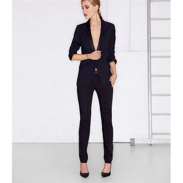 buy online 60bde 8f421 US $79.0 |Navy Giacca Risvolto Nero Pantaloni 2 Pezzi Set Delle Donne  Vestiti di Affari Tailleur Pantalone Formale Per Matrimoni Smoking  Femminile ...
