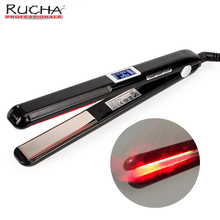 RUCHA Ultrasonic Infrared Hair Care Iron Recovers the Damaged Upgraded LCD Display Hair Treatment Styler Cold Iron Straightener(China)