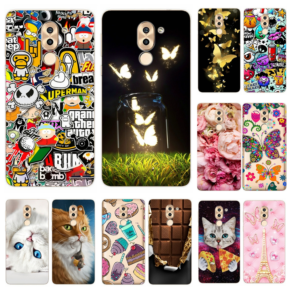 Silicone case for Huawei Honor 6X Printing Cute Soft Tpu Cover Case For Coque Huawei Honor 6 x 6X 5.5  phone cases Capa Bumper