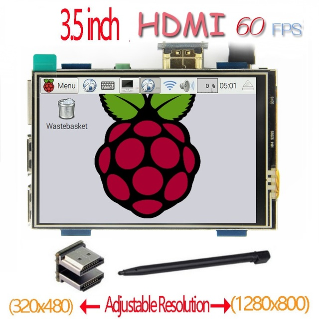 Raspberry Pi pantalla táctil LCD de 3,5 pulgadas, HDMI, 60 fps, 3,5x1920 Pantalla táctil IPS, para Raspberry Pi 2, modelo B y RPI B