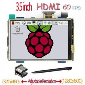 Image 1 - Raspberry pi 3.5 polegada hdmi lcd touchscreen 3.5 polegada display 60 fps 1920*1080 ips tela de toque para raspberry pi 2 modelo b & rpi b