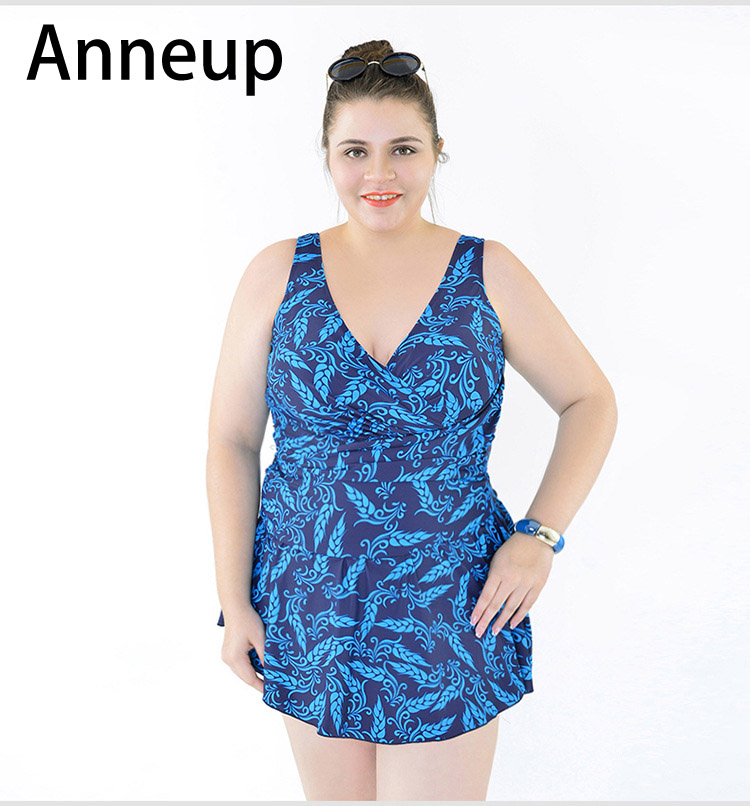 Anneup Plus Size Swimwear Women Fat Dress Large Sizes Swimsuit Skirt 4xl 5xl 6xl One Piece Bath Suit Swim Wear Big Bust P0154 plus size one piece swimsuit skirt 2017 dress swimwear women push up bathing suit floral large swim suit for fat women 4xl 8xl