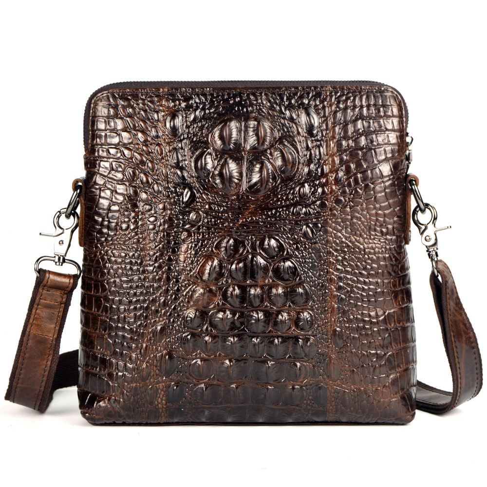 First Layer Cow Skin Genuine Leather Bag For Men Crocodile Style Men's Business Messenger Bag crossbody shoulder bag cowhide first layer cow skin 100