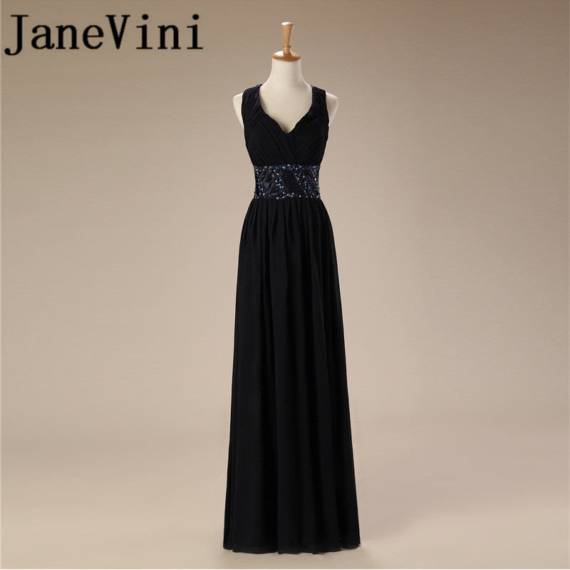 JaneVini 2018 Sexy Black Chiffon Long   Bridesmaid     Dresses   V-Neck Beaded Back Cross Belt Floor Length Women Wedding Party Gowns