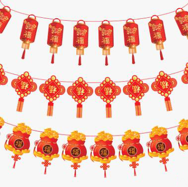 traditional chinese new year banner decorative paper flag wreath christmas tree hotel supermarket decoration flag new