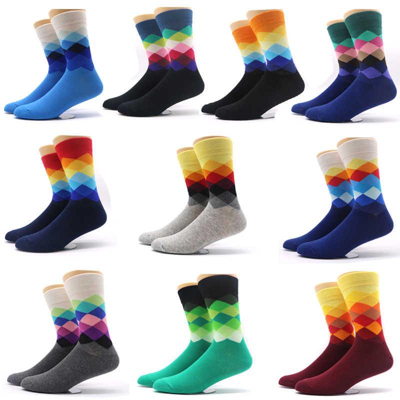 fcd4c3e6cd45f 10 paires/lot Hommes Chaussettes de Gradient Couleur Style Mâle Homme  Compression Chaussettes Occasionnels Robe
