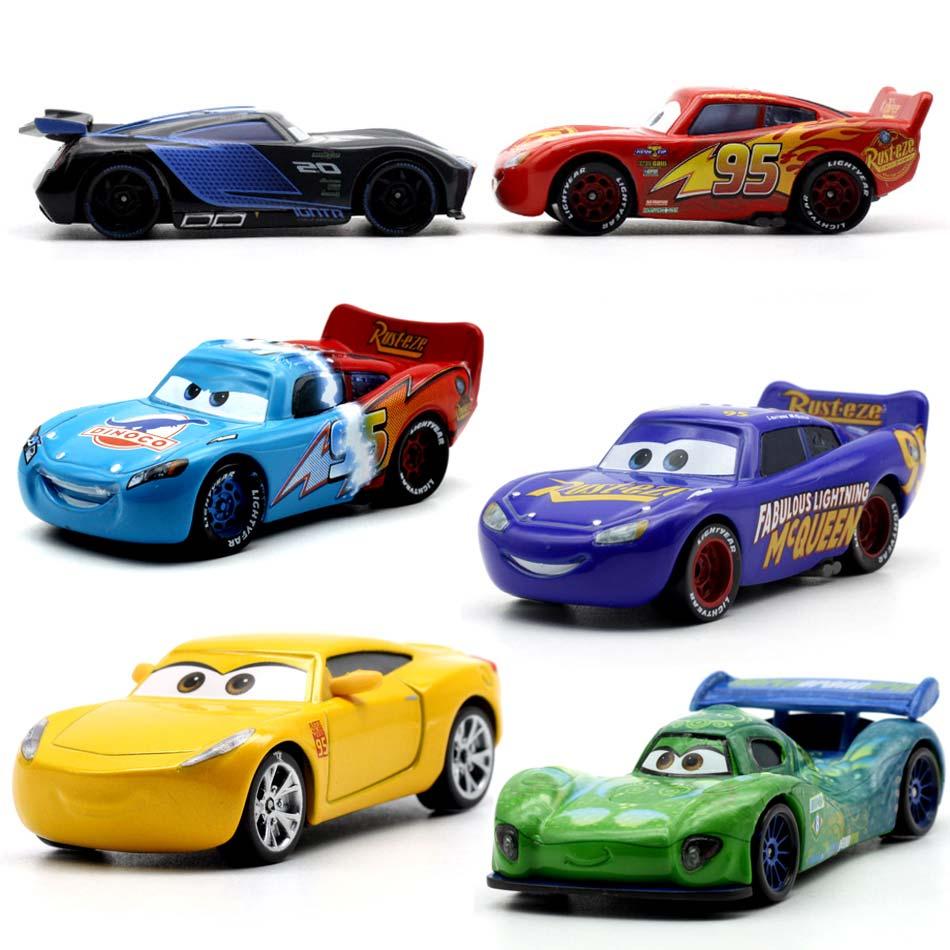 19 Style Disney Pixar Cars 3 Lightning McQueen Jackson Storm Dinoco Cruz Ramirez 1:55 Diecast Metal Toys Model Car Birthday Gift