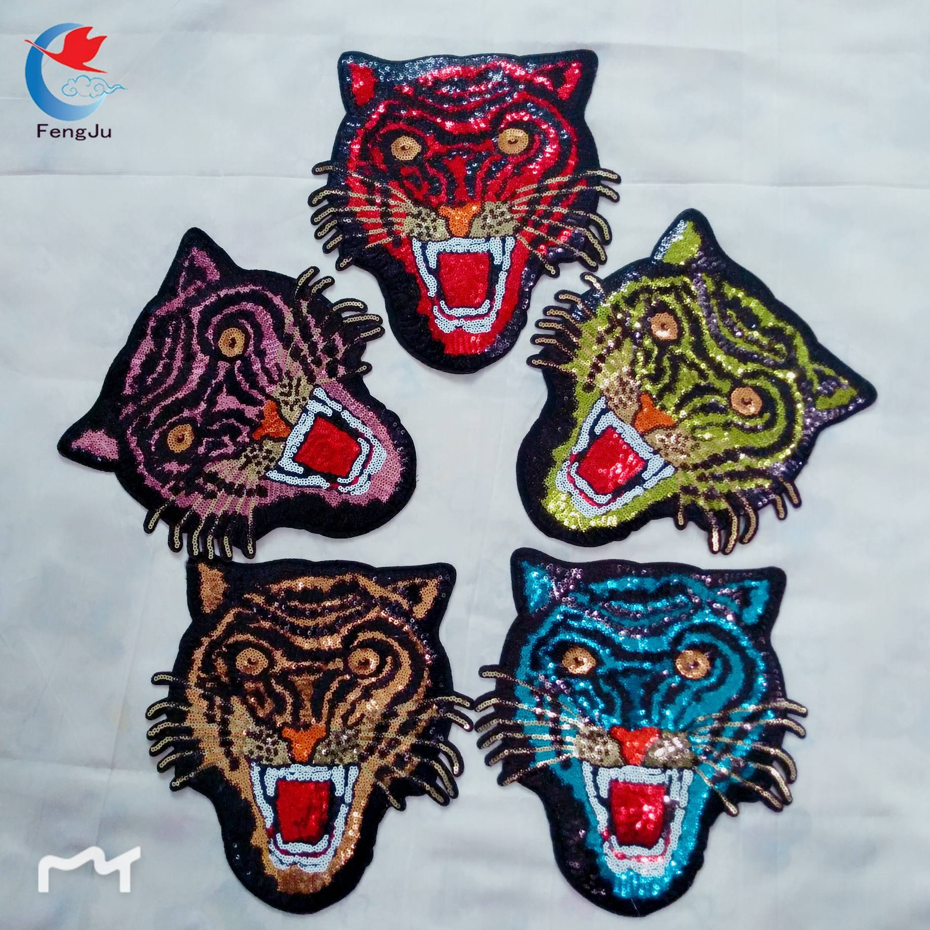 f329d407f460b 1pc Tiger head sequined patches Applique Clothing Embroidery Iron on Patches  Fabric Sticker Repair Sequined Patch