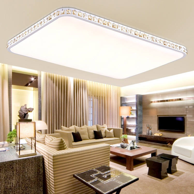 Light Filled Contemporary Living Rooms: The Modern Super Thin Rectangular Crystal LED Ceiling