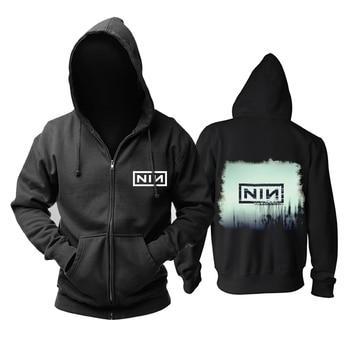 Bloodhoof Nine Inch Nails  alternative metal black zipper hoodie Asian Size