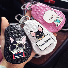 lovely dogs key chain Poodle Chihuahua bulldog packet Leather Key Wallet Women Keychain Covers Zipper car Case Bag Keys
