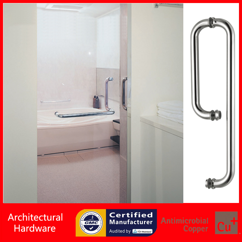 Straight and Offset Shower Door Handle With Towel Holder Made Of 304 Stainless Steel For Glass Mounted Doors PA-125-25*300*500mm shower door pull handle 304 grade stainless steel polished available for glass doors of bathroom pa 645 25 10 205 460mm