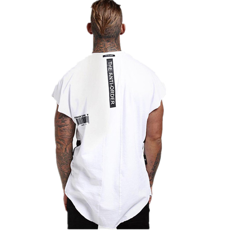 Men Short Sleeve T-shirt Fashion Hip Hop Gyms Singlet Cotton Bodybuilding Men Fitness Round Neck Tshirt