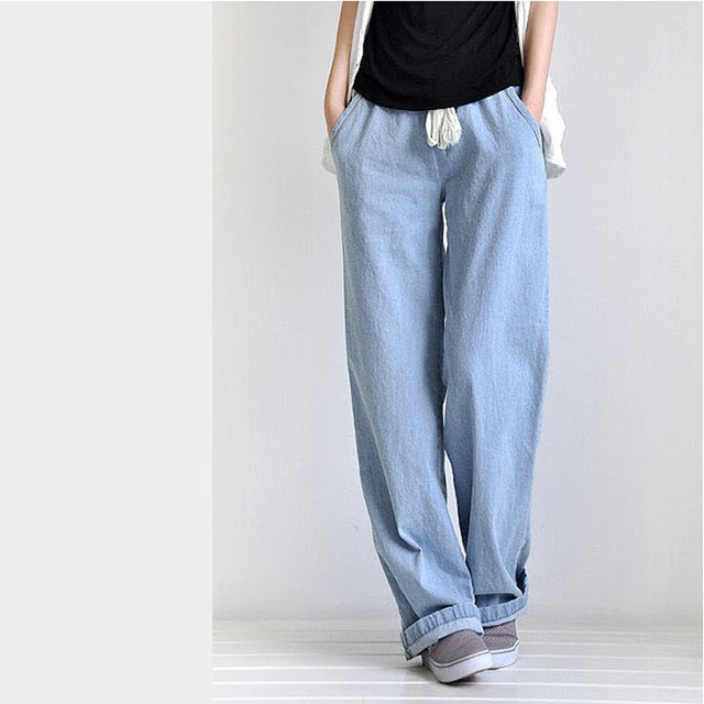 Plus Size Casual Comfortable Loose Wide Leg Pants Straight  Women's Jeans Elastic Waist Full Length Trousers
