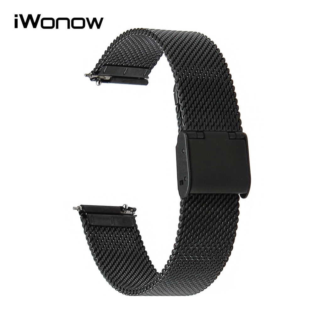 16mm 18mm 20mm 22mm Quick Release Watchband Milanese Stainless Steel Strap Universal Watch Band Wrist Bracelet Black Gold Silver stylish 8 led blue light digit stainless steel bracelet wrist watch black 1 cr2016