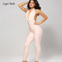 Leger Babe 2018 Pink Women Rompers Halter Sexy Deep V Jumpsuits Open Back Celebrity Party Long Jumpsuits Slim Bodysuits Outfits