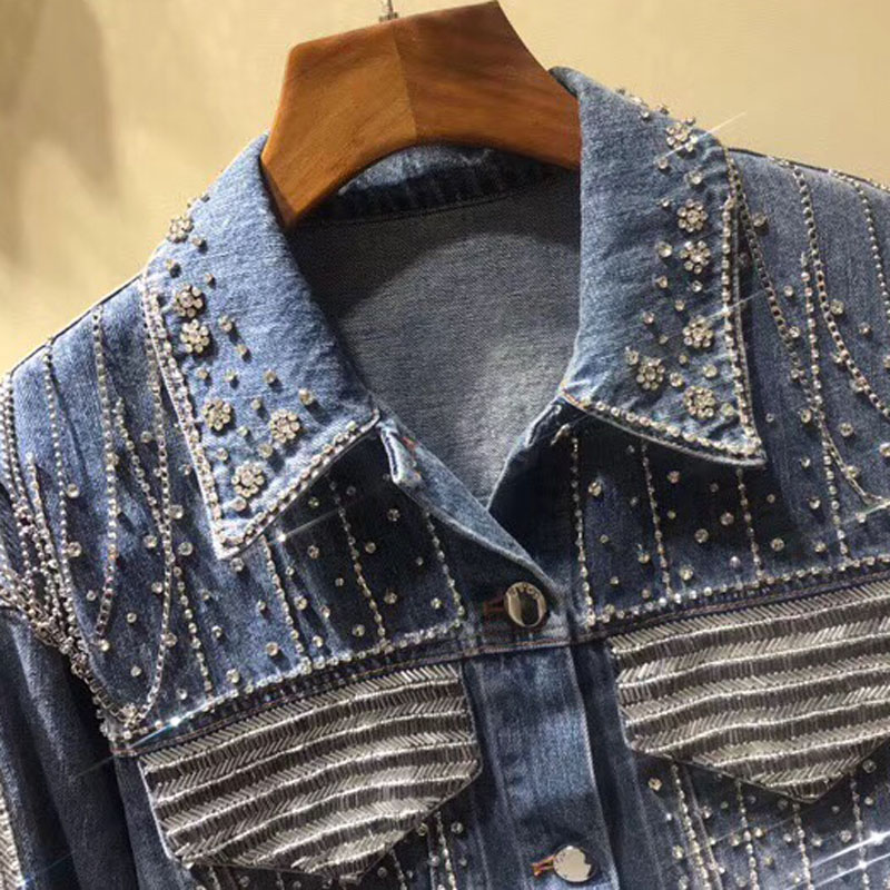 Veste 2019 Jean Printemps Longues Femmes Manches Nouvelles Jeans Outwear Diamants En Élégant Coton Supérieure Qualité CnCIrq