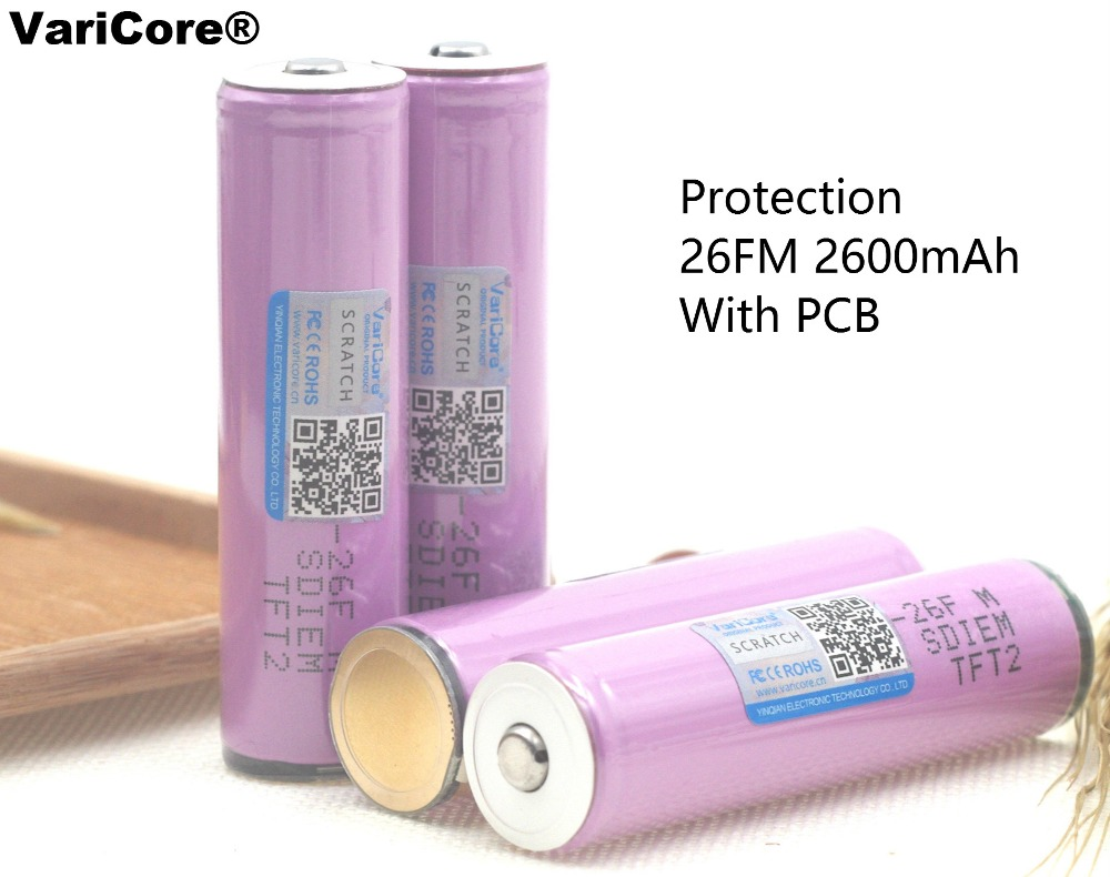 VaricoreProtected100 % Brand New Original 18650 icr18650-26fm 2600 mah Li-ion 3.7 ues withPCB 3.7vrechargeable Bateria para Lanterna