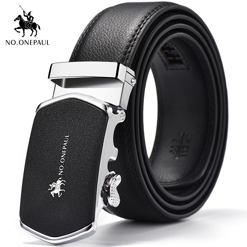 NO.ONEPAUL Designed For Men To Create Top Belt Automatic Buckle Black Belt, Luxury Brand Men's High Quality Pure Leather Belt
