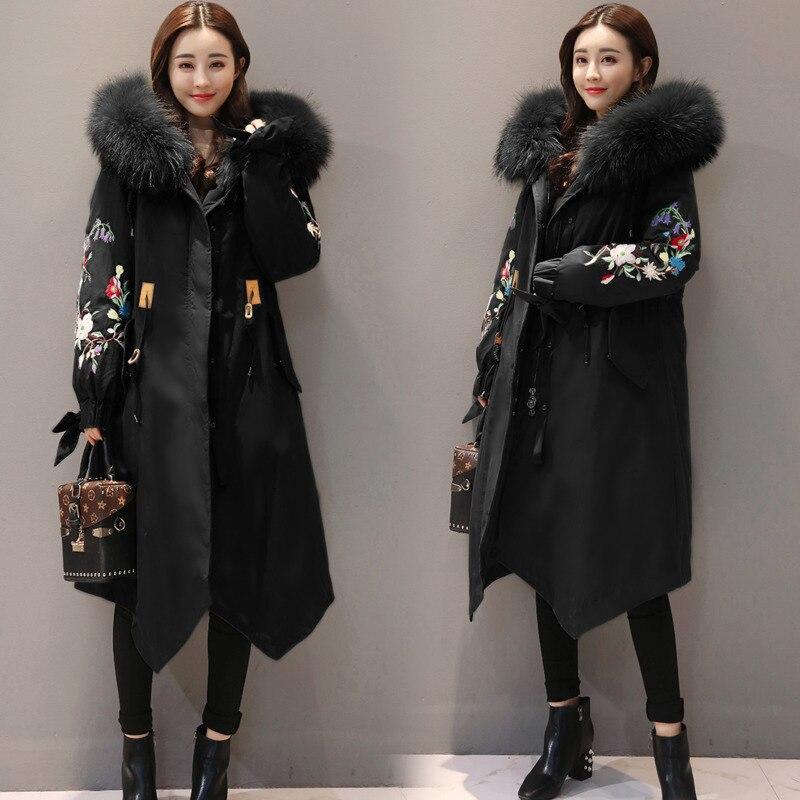 2018 Veste Broderie Manteau army Coton Femme Style Femmes D'hiver Green Bas Parka Femelle Le Chinois Black National A466 Vintage Vêtements Survêtement Vers Zz0n7wp