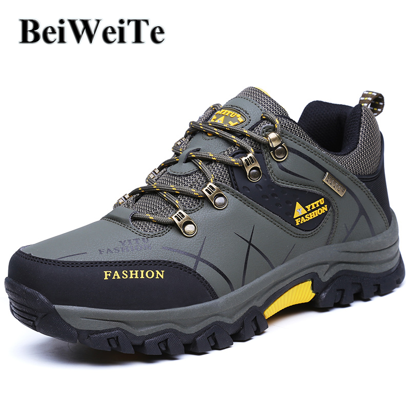 Spring Men Hiking Shoes Big Size Male Sneakers Outdoor Non Slip Climbing Hunting Shoes Waterproof Leather