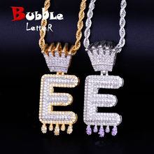 7f0ac3a1c400a Custom Name Crown Bail Purple Drip Initials Bubble Letters Gold Silver  Necklaces & Pendant AAA Zirconia