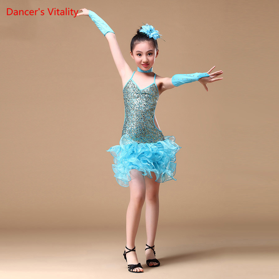 6-15 Years Children Dance Outfit with Sleeves Sequins Latin Dresses for Girls Backless Fringe Latin Dance Dress Children