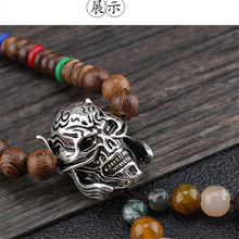 Retro wooden beads Buddha head sweater chain men and women personality fashion pendant necklace clothes accessories wholesale