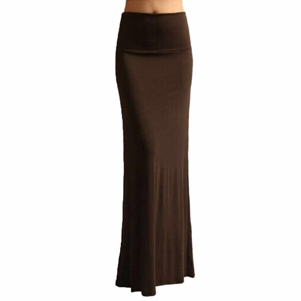 גבירותיי נשים חצאית מקסי חצאית חצוצרה לעטוף הדוק חצאיות אופנה סקסי Falda 6 צבעים קיץ חצאיות 2019 Falda דה verano # F