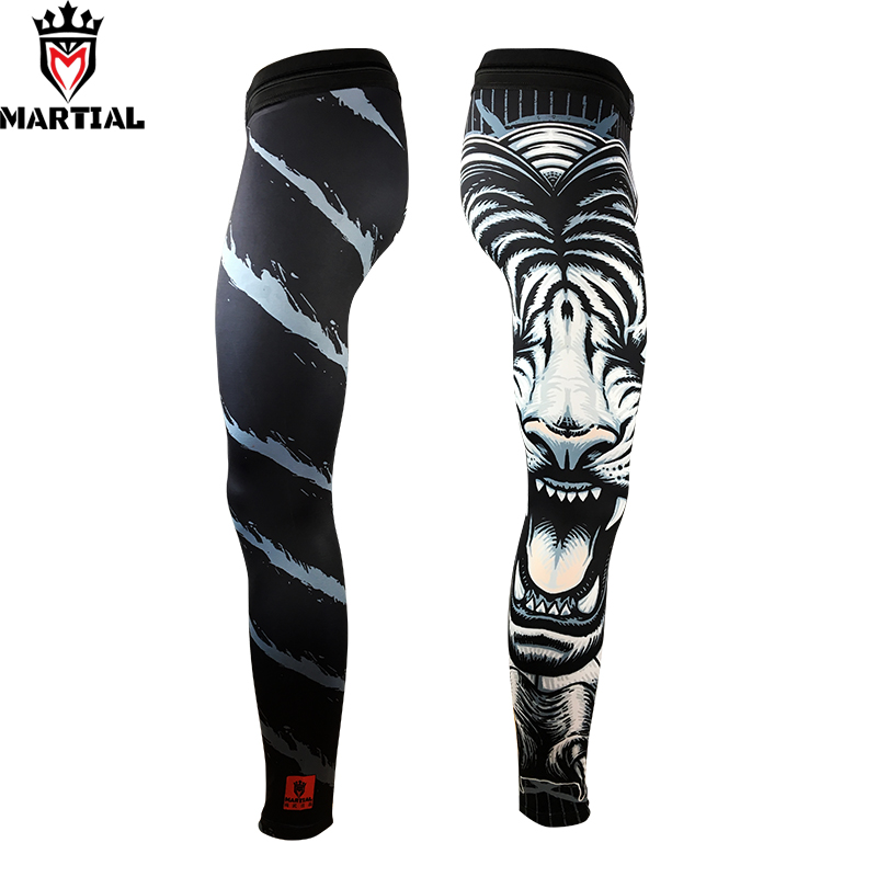 Martial :Tiger original design sublimation compression leggings fitness sports pants gym running leggings Long pants spats camouflage pattern running leggings