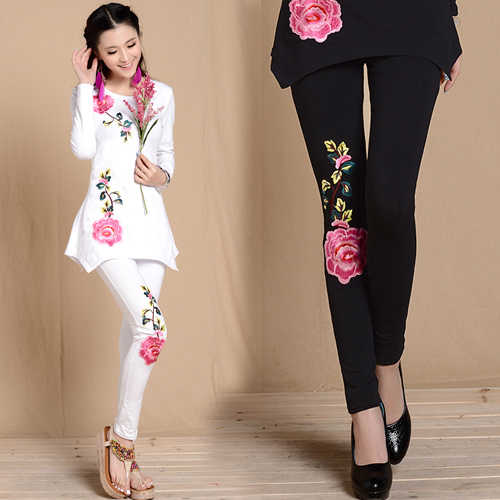 M L XL XXL 3XL black white embroidery leggings for women spring autumn bohemian flowers embroider pencil pant ethnic trousers