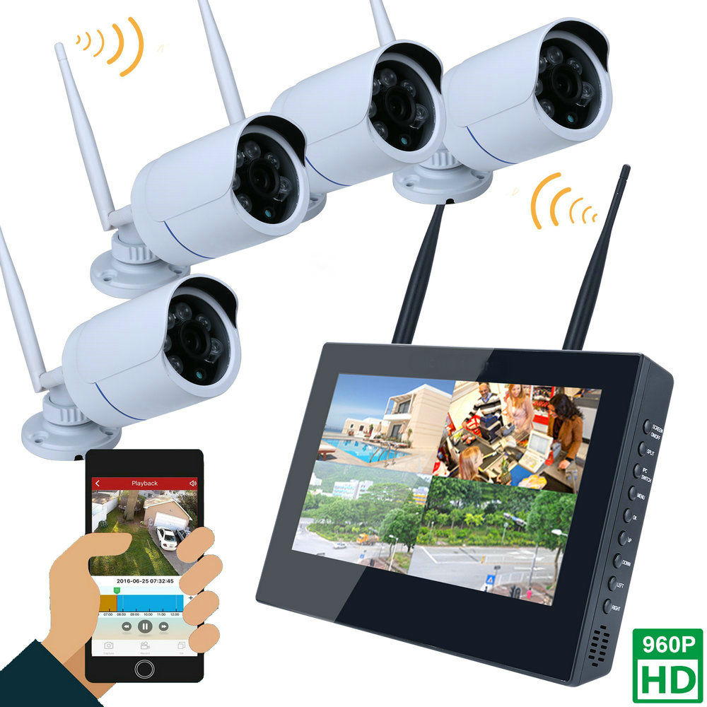 10inch LCD Screen Monitor 4CH 960P Wifi Wireless NVR Recorder Security With 4x 960P 1.3MP Weatherproof outdoor Dome Cameras