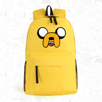 Anime Adventure Time Kawaii Jake Emoji Printing School Bags for Teenagers Canvas Backpacks for Teenage Girls Mochila Feminina