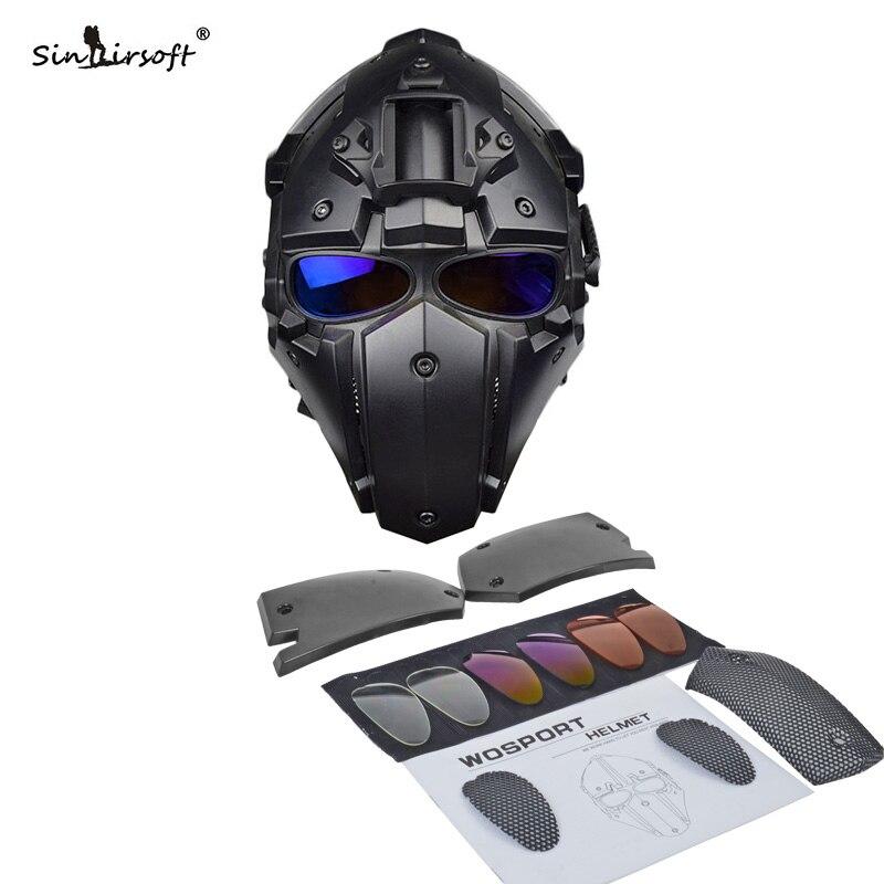 Hot nouveau casque tactique Paintball masque avec masque masque tout rond Airsoft CS Wargame casque NVG obsidienne vert GOBL TERMINATOR