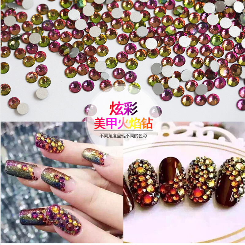 wholesale 1440pcs/pack ss6 (1.9-2.1mm) Rainbow Flat Back Nail Art crystal decorations Glue On Non Hotfix Rhinestones nail beads ss16 crystal light siam rhinestones for nail art 1440pcs pack flat back non hotfix glue on nail art decorations diy supplies