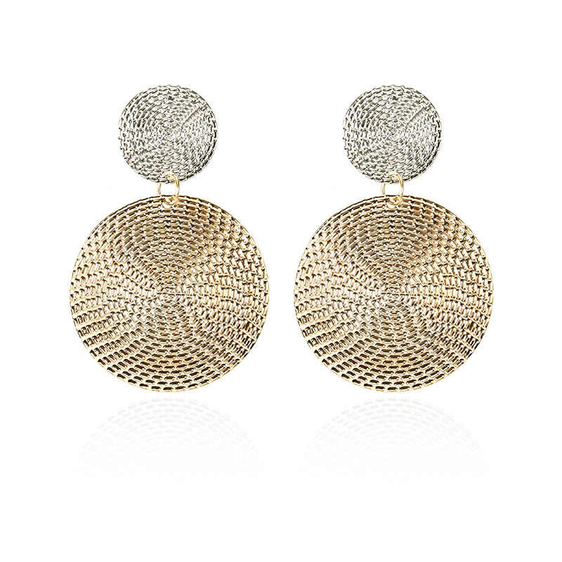 Shiny Golden Color Double Round Circle Drop Earrings For Women Elegant Fashion Statement Earrings Wholesale Jewelry E021