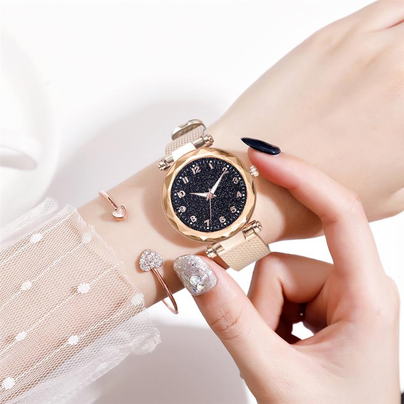 Women Casual Watch Aluminum Band Starry Sky Watch Number Dial Stainless Steel Quartz Wristwatch Ladies Female Dress Watches