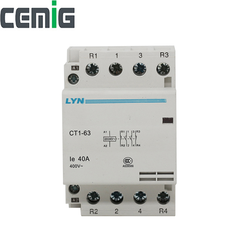 Cemig Household AC Modular Contactor CT1-63 4P 32A 40A 63A 2NO 2NC 50/60Hz 400VCemig Household AC Modular Contactor CT1-63 4P 32A 40A 63A 2NO 2NC 50/60Hz 400V