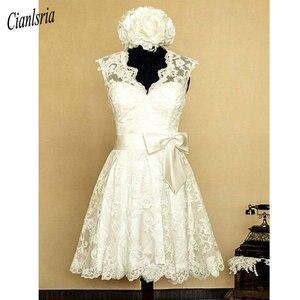 Image 3 - Vestido de novia Vintage de encaje con cuello en V hasta la rodilla, con apliques de lazo, espalda abierta, campo, corto, mangas casquillo, 1950s