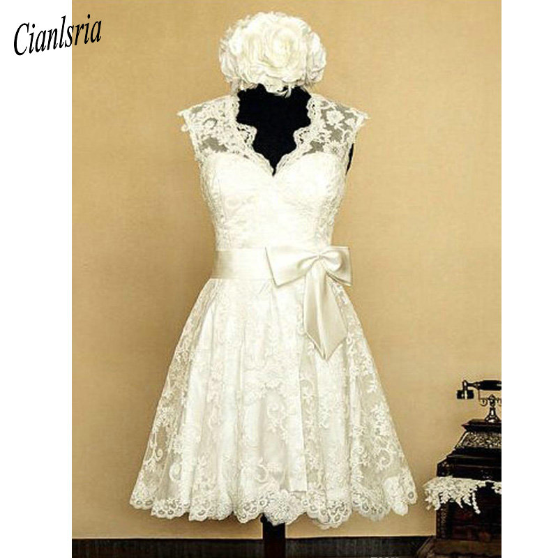 Image 3 - Vintage Lace 1950s V Neck Knee length Wedding Dress With Bow  Appliques Open Back Country Short Wedding Dresses Cap SleevesWedding  Dresses