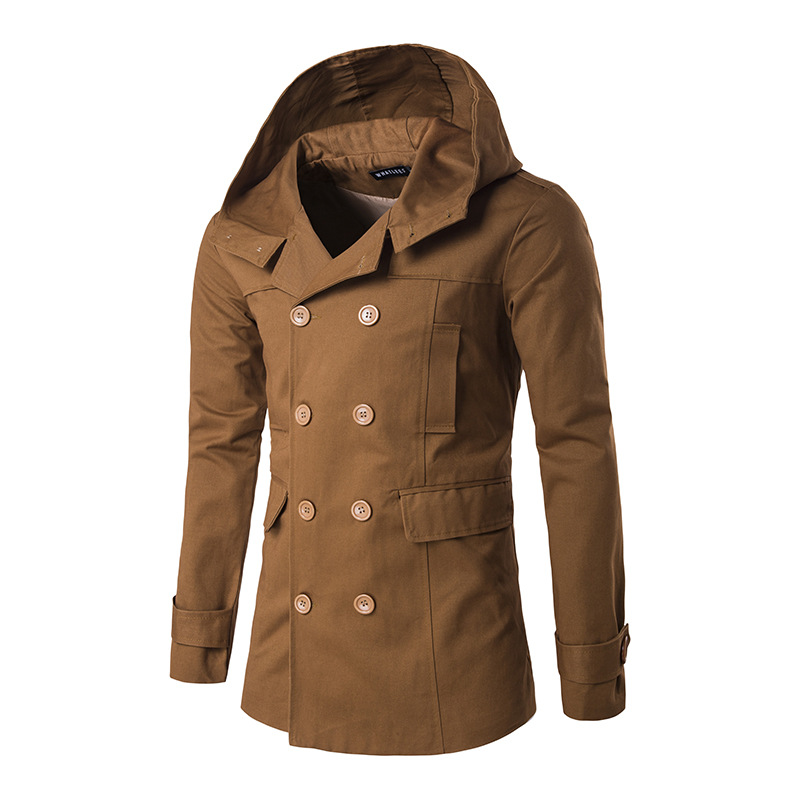 Men's clothing. Winter new windbreaker. Stylish split-back jacket. Casual hooded solid color coat. Offers. Size: M-2XL