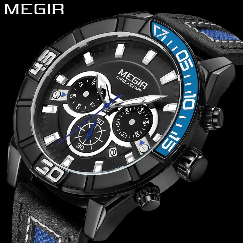 цена MEGIR Watches Men Luxury Brand Sport Casual business leather Quartz Watch Men's clock Military Wrist watches relogio masculino онлайн в 2017 году
