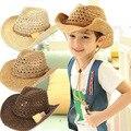 2016 nueva moda niños sombrero de vaquero niños playa de verano de adultos Floppy sol sombrero del cubo tendencia muchacha del muchacho sombrero de vaquero del sombrero
